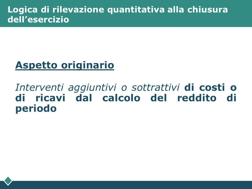 Logica di rilevazione quantitativa alla chiusura dellesercizio Aspetto originario Interventi aggiuntivi o sottrattivi di costi o di ricavi dal calcolo