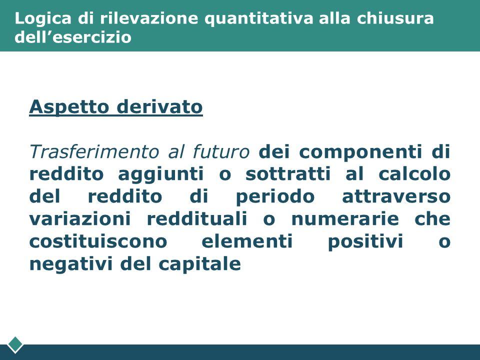 Logica di rilevazione quantitativa alla chiusura dellesercizio Aspetto derivato Trasferimento al futuro dei componenti di reddito aggiunti o sottratti
