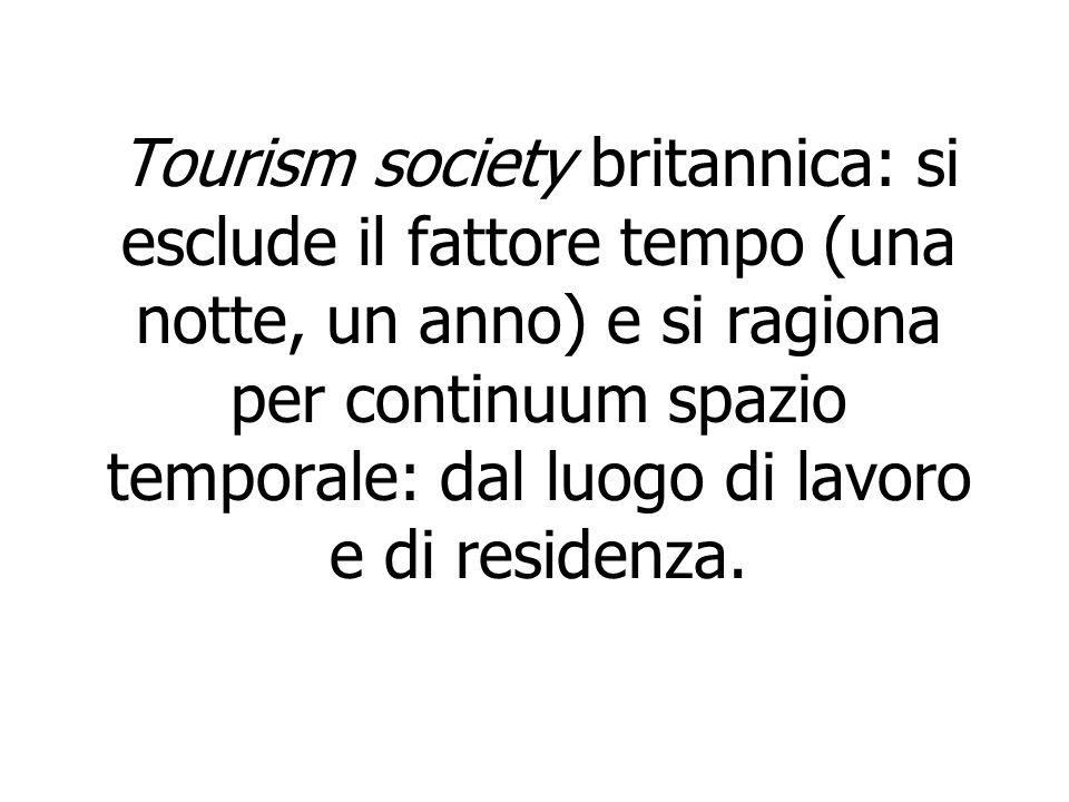 Tourism society britannica: si esclude il fattore tempo (una notte, un anno) e si ragiona per continuum spazio temporale: dal luogo di lavoro e di res