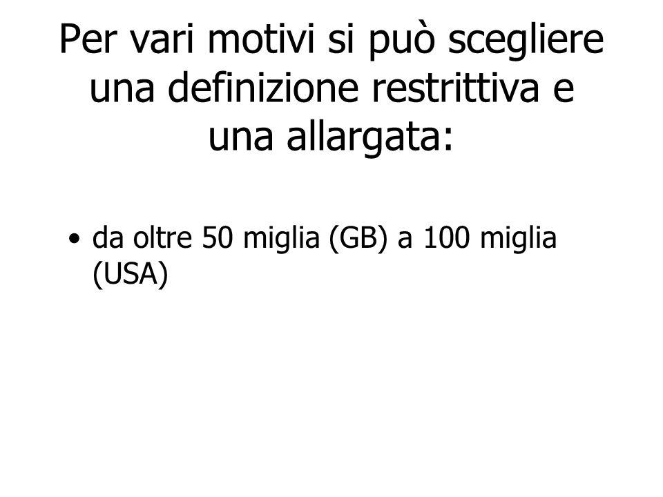 Per vari motivi si può scegliere una definizione restrittiva e una allargata: da oltre 50 miglia (GB) a 100 miglia (USA)