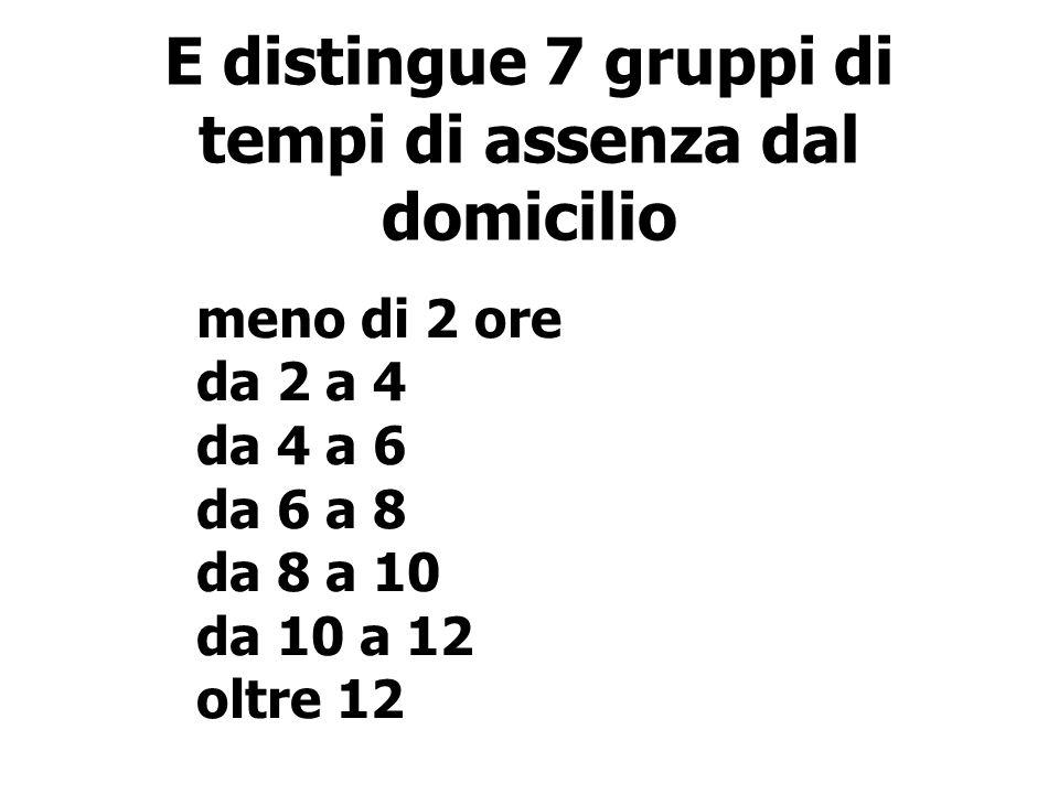 E distingue 7 gruppi di tempi di assenza dal domicilio meno di 2 ore da 2 a 4 da 4 a 6 da 6 a 8 da 8 a 10 da 10 a 12 oltre 12