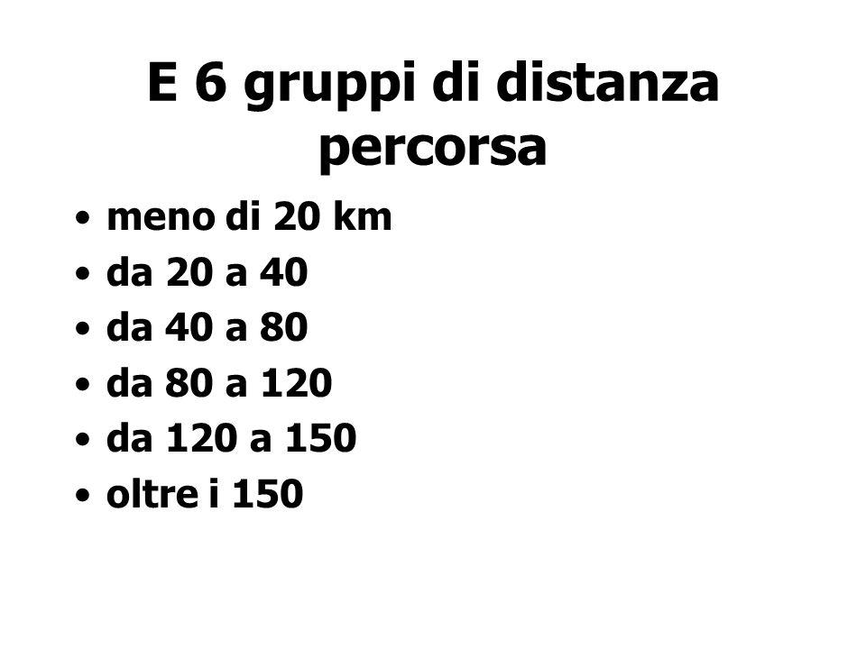 E 6 gruppi di distanza percorsa meno di 20 km da 20 a 40 da 40 a 80 da 80 a 120 da 120 a 150 oltre i 150