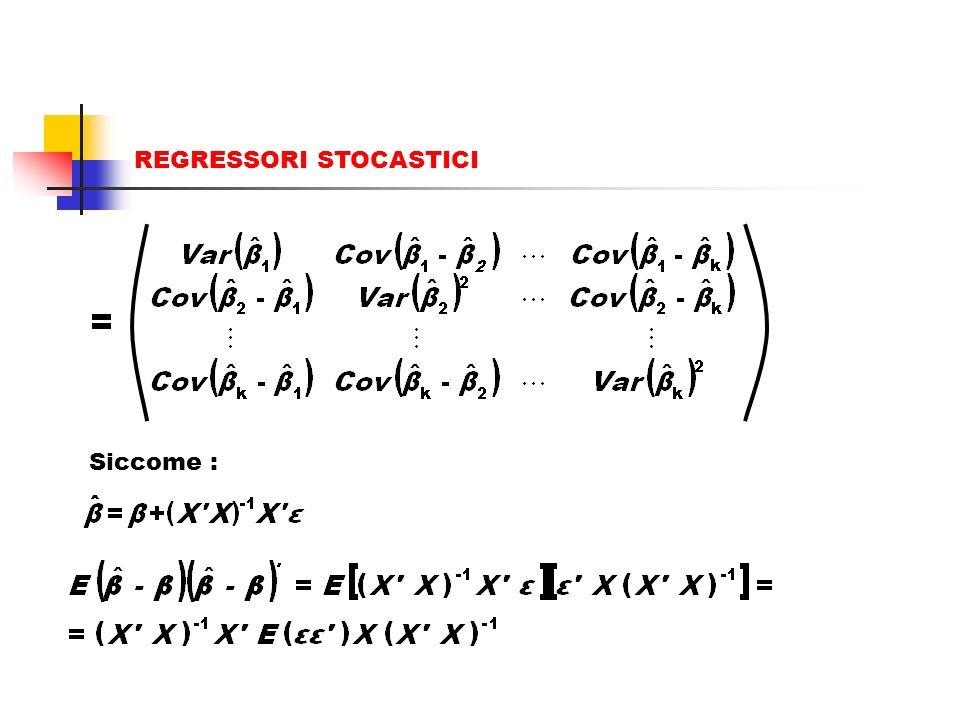 REGRESSORI STOCASTICI Efficienza: lo stimatore OLS presenta varianza minima Consideriamo la seguente matrice simmetrica k x k: