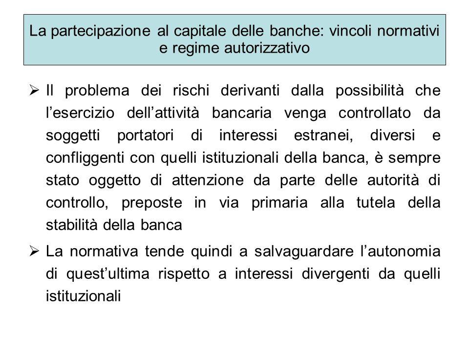 La partecipazione al capitale delle banche: vincoli normativi e regime autorizzativo Il problema dei rischi derivanti dalla possibilità che lesercizio