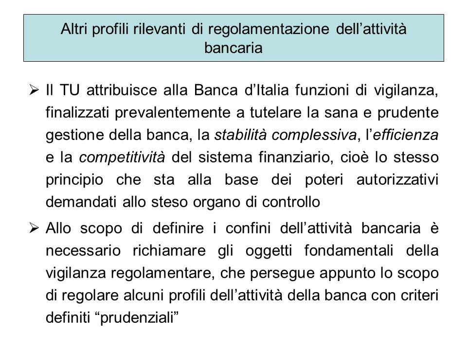 Altri profili rilevanti di regolamentazione dellattività bancaria Il TU attribuisce alla Banca dItalia funzioni di vigilanza, finalizzati prevalenteme