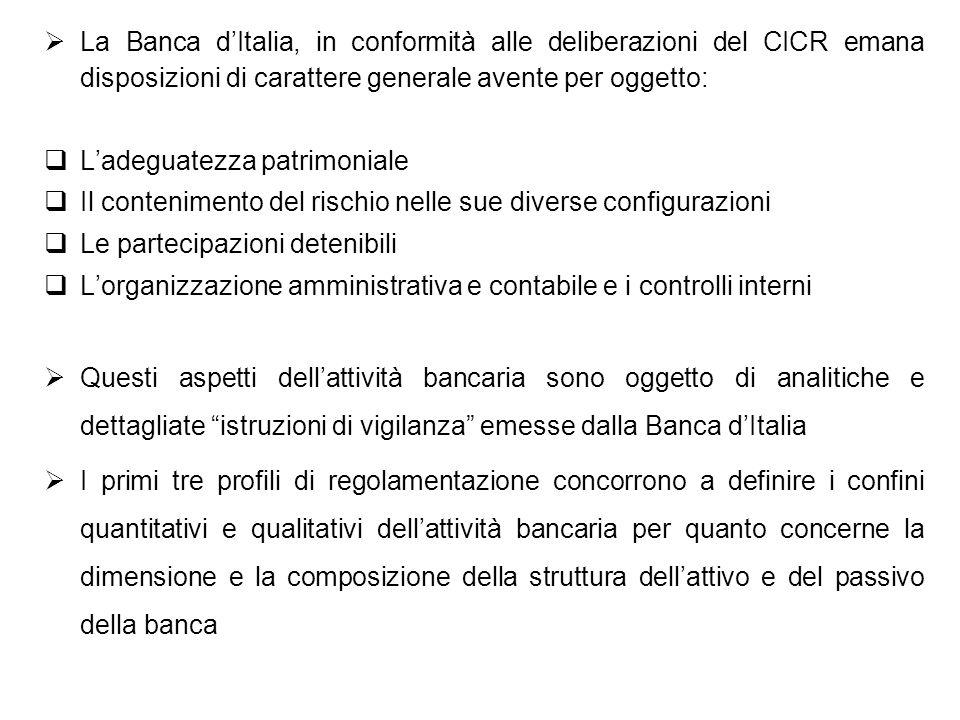 La Banca dItalia, in conformità alle deliberazioni del CICR emana disposizioni di carattere generale avente per oggetto: Ladeguatezza patrimoniale Il