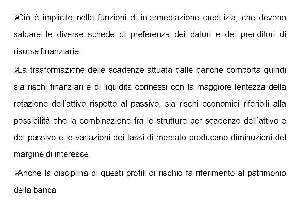 Ciò è implicito nelle funzioni di intermediazione creditizia, che devono saldare le diverse schede di preferenza dei datori e dei prenditori di risors