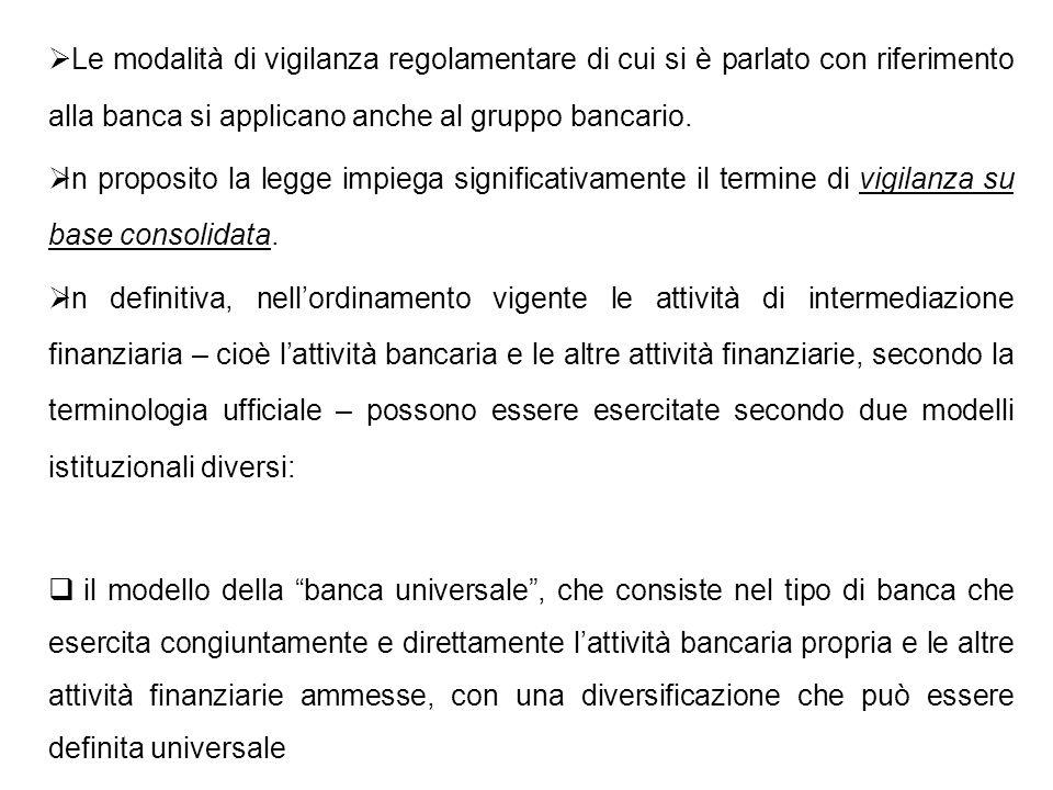 Le modalità di vigilanza regolamentare di cui si è parlato con riferimento alla banca si applicano anche al gruppo bancario. In proposito la legge imp