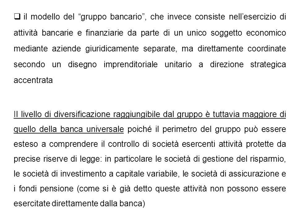 il modello del gruppo bancario, che invece consiste nellesercizio di attività bancarie e finanziarie da parte di un unico soggetto economico mediante