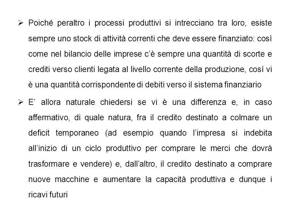 Poiché peraltro i processi produttivi si intrecciano tra loro, esiste sempre uno stock di attività correnti che deve essere finanziato: così come nel