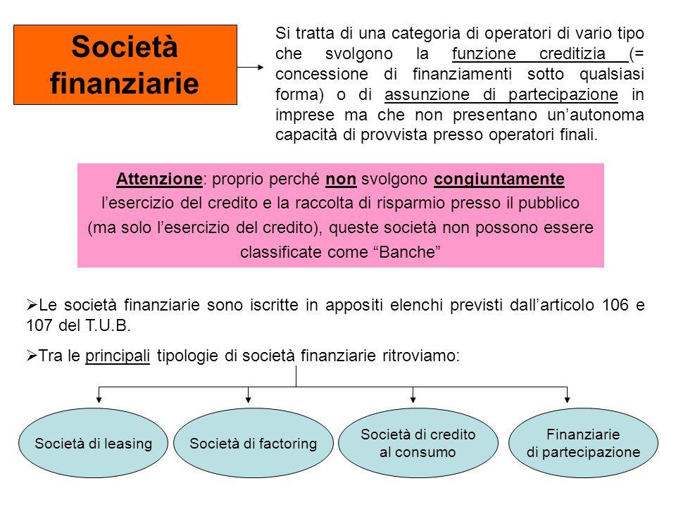 Società finanziarie Si tratta di una categoria di operatori di vario tipo che svolgono la funzione creditizia (= concessione di finanziamenti sotto qu