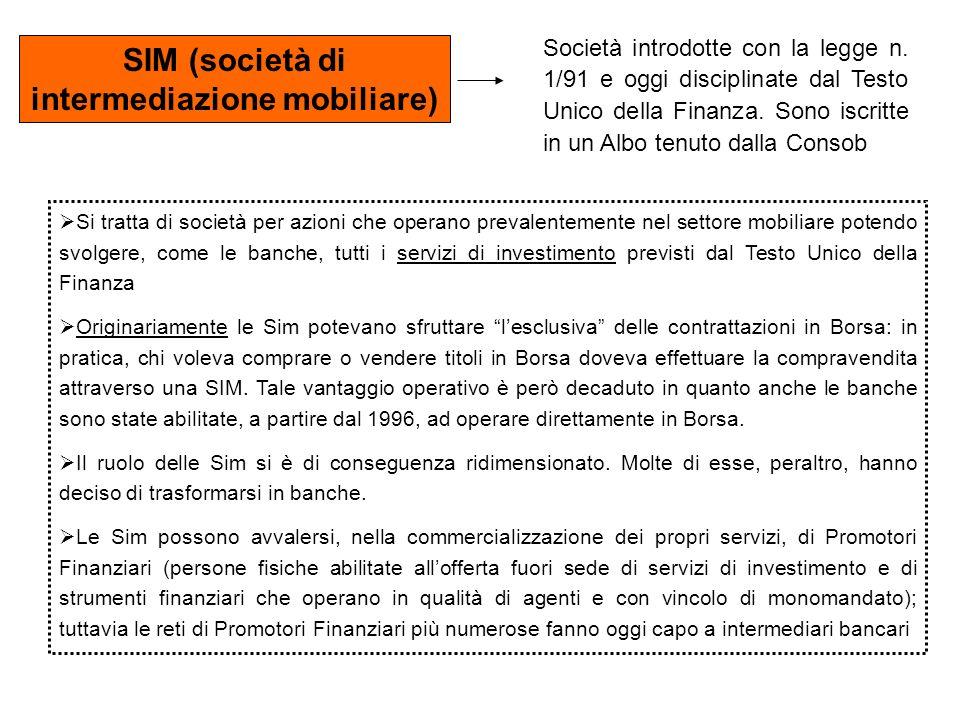 SIM (società di intermediazione mobiliare) Società introdotte con la legge n. 1/91 e oggi disciplinate dal Testo Unico della Finanza. Sono iscritte in