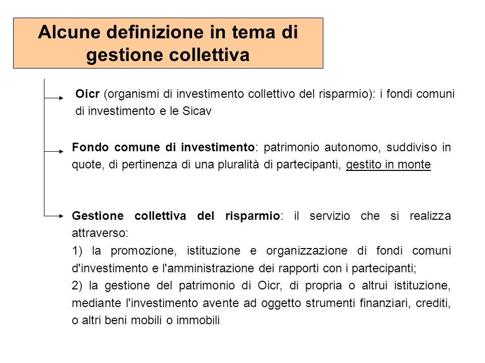 Alcune definizione in tema di gestione collettiva Oicr (organismi di investimento collettivo del risparmio): i fondi comuni di investimento e le Sicav