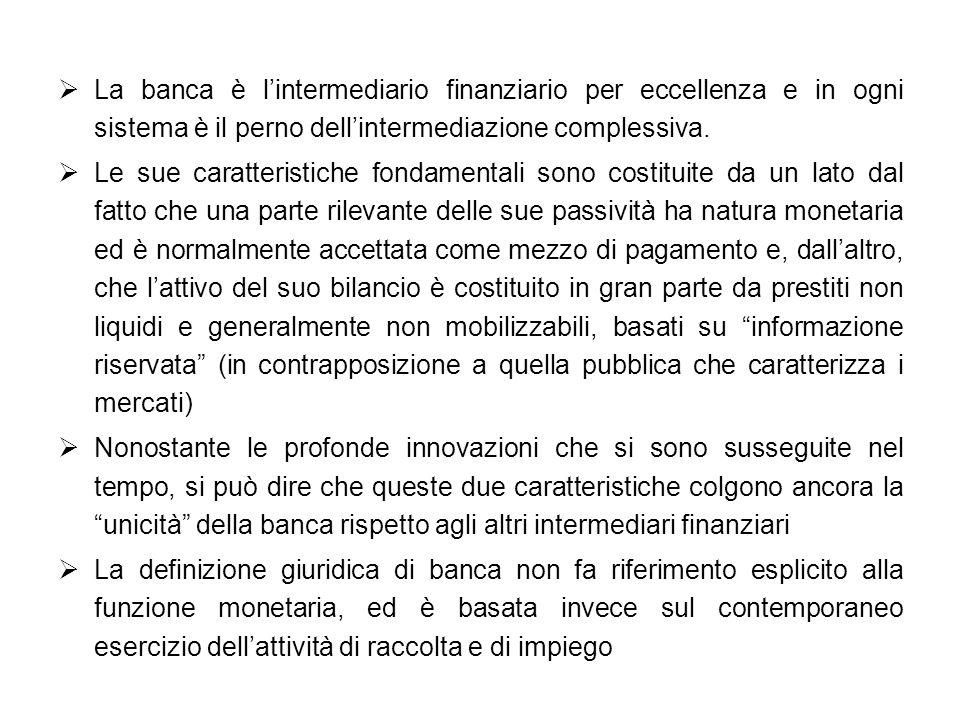 La banca è lintermediario finanziario per eccellenza e in ogni sistema è il perno dellintermediazione complessiva. Le sue caratteristiche fondamentali