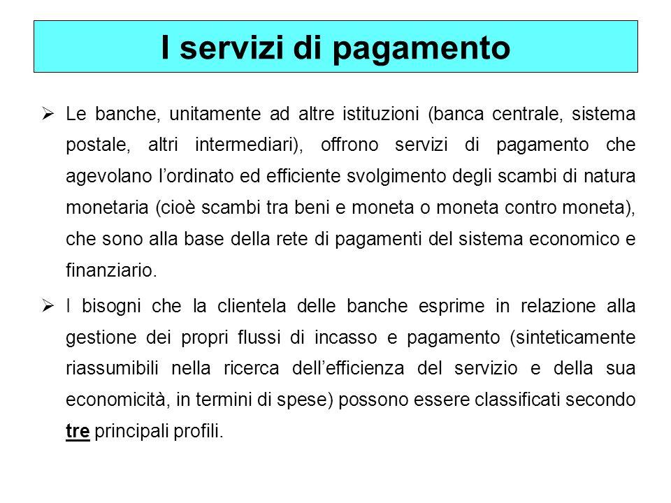 I servizi di pagamento Le banche, unitamente ad altre istituzioni (banca centrale, sistema postale, altri intermediari), offrono servizi di pagamento