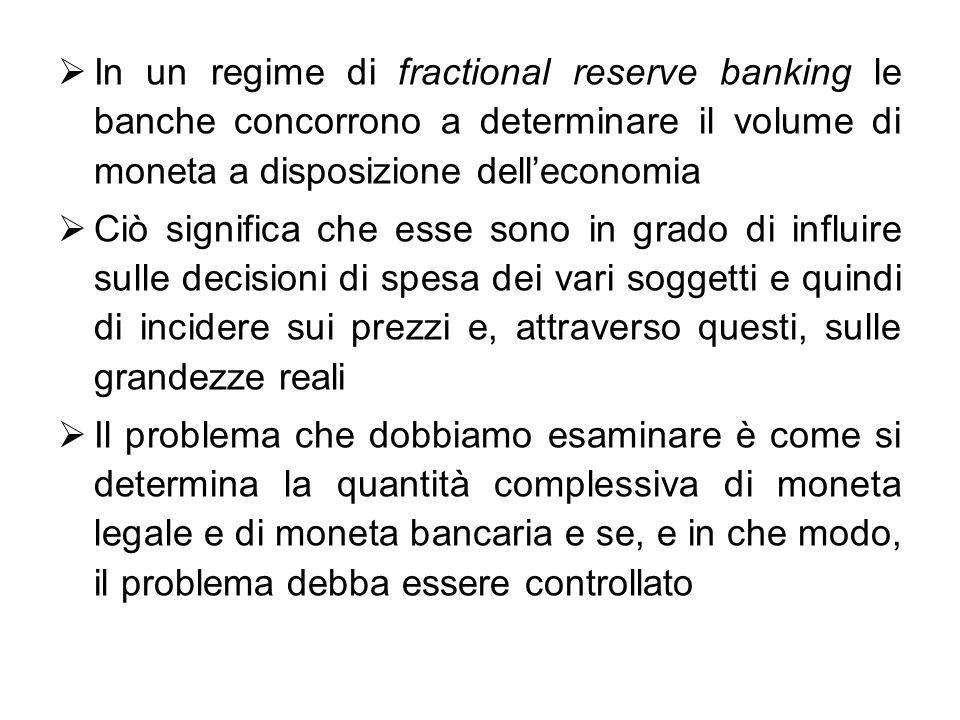 In un regime di fractional reserve banking le banche concorrono a determinare il volume di moneta a disposizione delleconomia Ciò significa che esse s