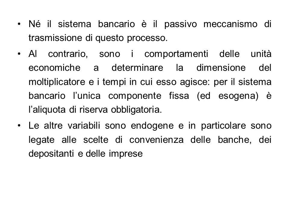 Né il sistema bancario è il passivo meccanismo di trasmissione di questo processo. Al contrario, sono i comportamenti delle unità economiche a determi