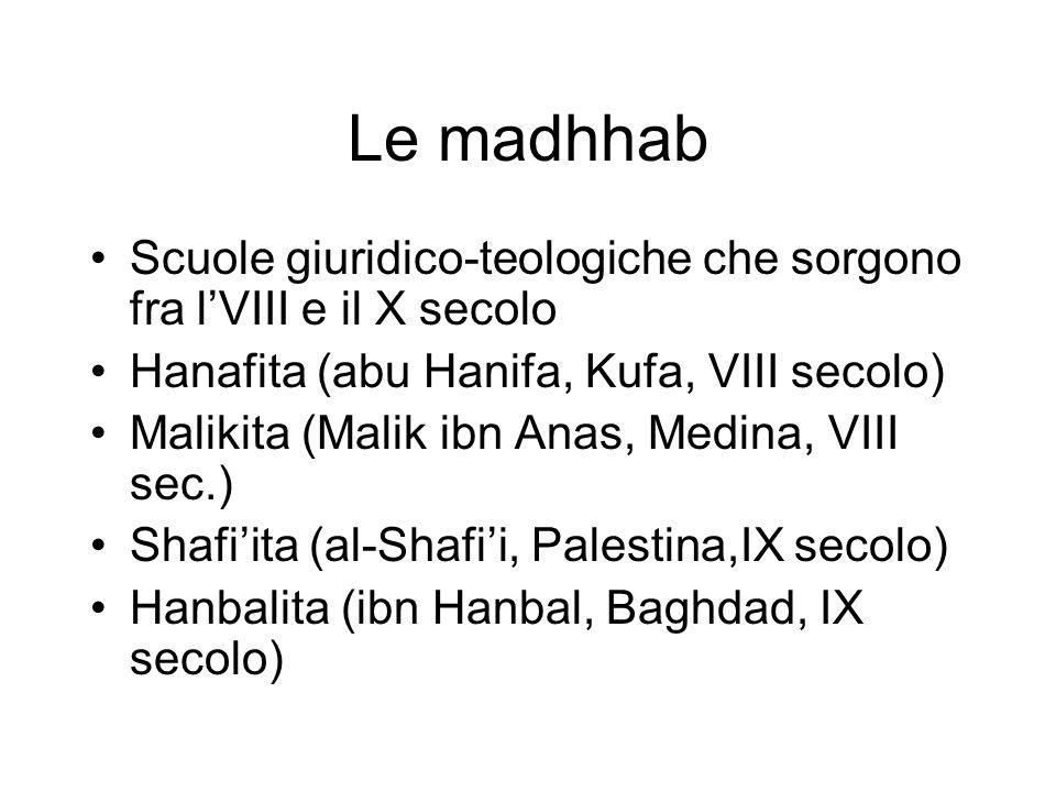 Le madhhab Scuole giuridico-teologiche che sorgono fra lVIII e il X secolo Hanafita (abu Hanifa, Kufa, VIII secolo) Malikita (Malik ibn Anas, Medina,