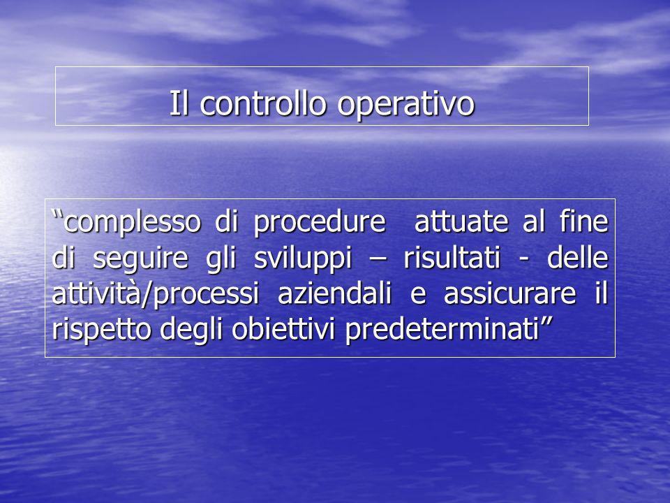 Il controllo operativo complesso di procedure attuate al fine di seguire gli sviluppi – risultati - delle attività/processi aziendali e assicurare il