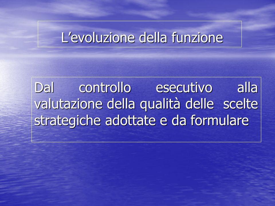 Levoluzione della funzione Levoluzione della funzione Dal controllo esecutivo alla valutazione della qualità delle scelte strategiche adottate e da fo