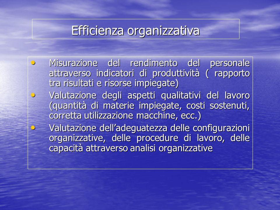 Efficienza organizzativa Misurazione del rendimento del personale attraverso indicatori di produttività ( rapporto tra risultati e risorse impiegate)