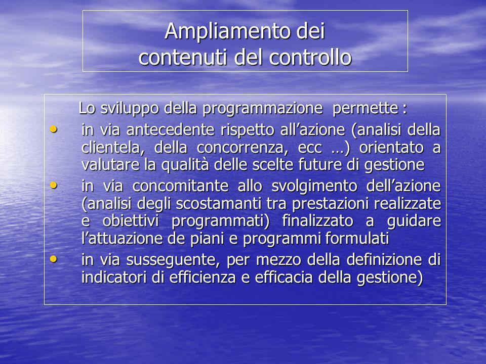Ampliamento dei contenuti del controllo Lo sviluppo della programmazione permette : Lo sviluppo della programmazione permette : in via antecedente ris