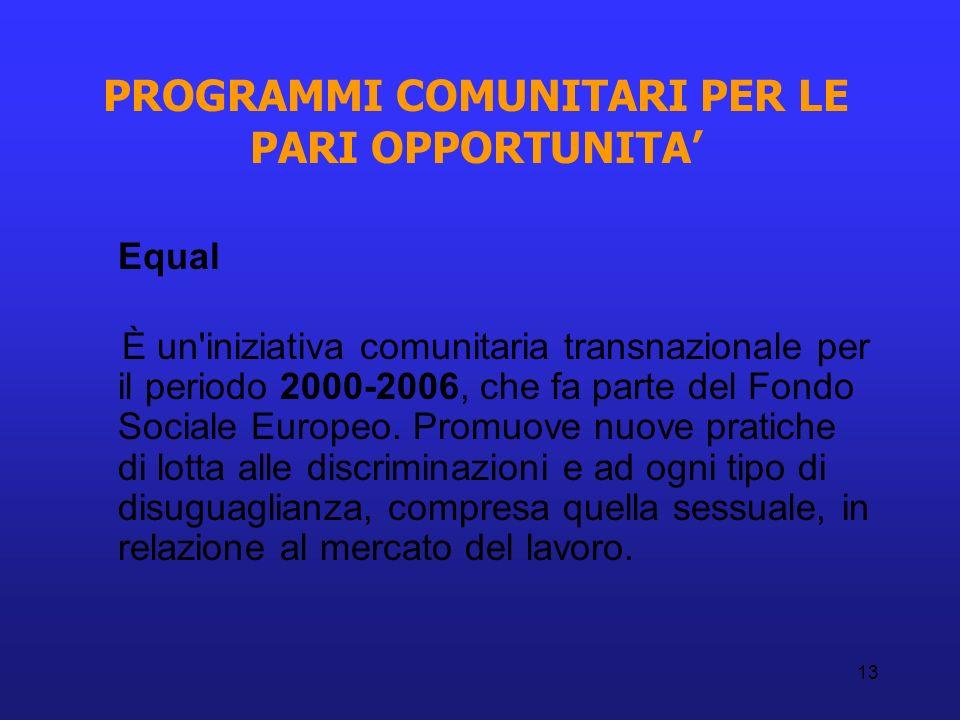 13 PROGRAMMI COMUNITARI PER LE PARI OPPORTUNITA Equal È un'iniziativa comunitaria transnazionale per il periodo 2000-2006, che fa parte del Fondo Soci
