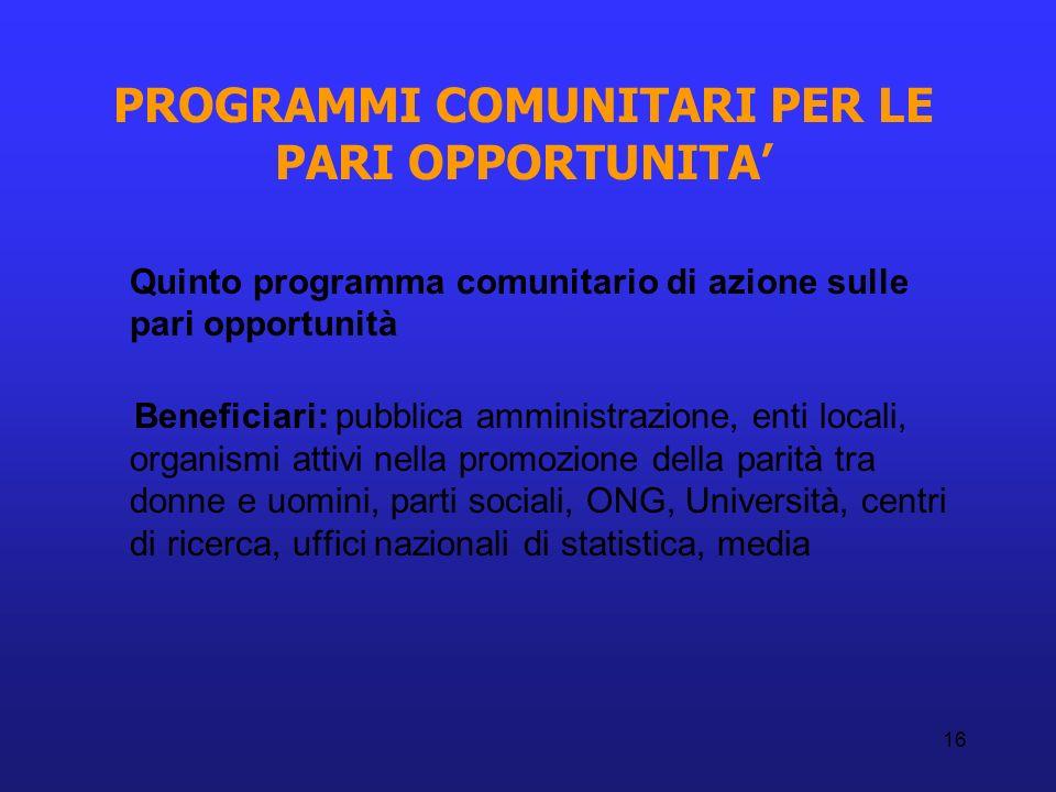 16 PROGRAMMI COMUNITARI PER LE PARI OPPORTUNITA Quinto programma comunitario di azione sulle pari opportunità Beneficiari: pubblica amministrazione, e