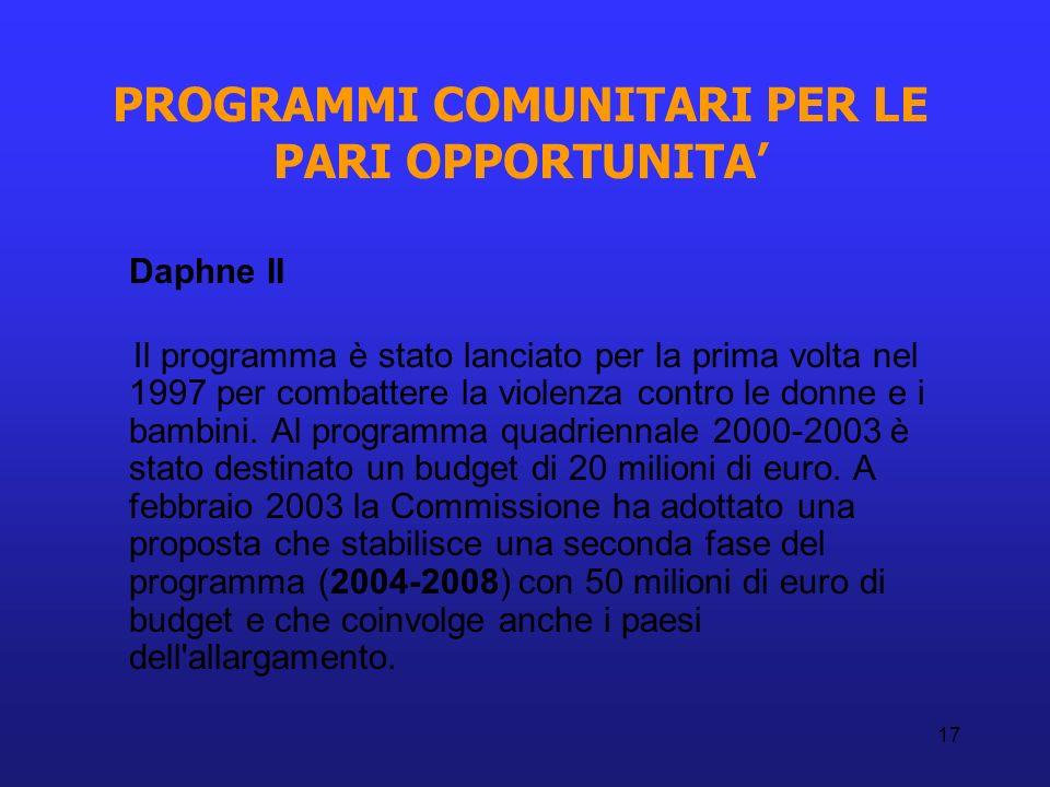 17 PROGRAMMI COMUNITARI PER LE PARI OPPORTUNITA Daphne II Il programma è stato lanciato per la prima volta nel 1997 per combattere la violenza contro