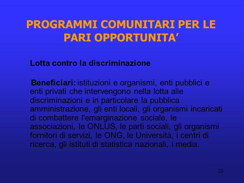22 PROGRAMMI COMUNITARI PER LE PARI OPPORTUNITA Lotta contro la discriminazione Beneficiari: istituzioni e organismi, enti pubblici e enti privati che