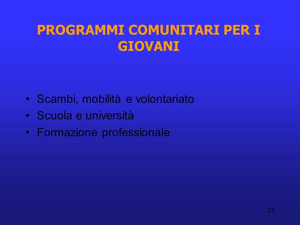 23 PROGRAMMI COMUNITARI PER I GIOVANI Scambi, mobilità e volontariato Scuola e università Formazione professionale