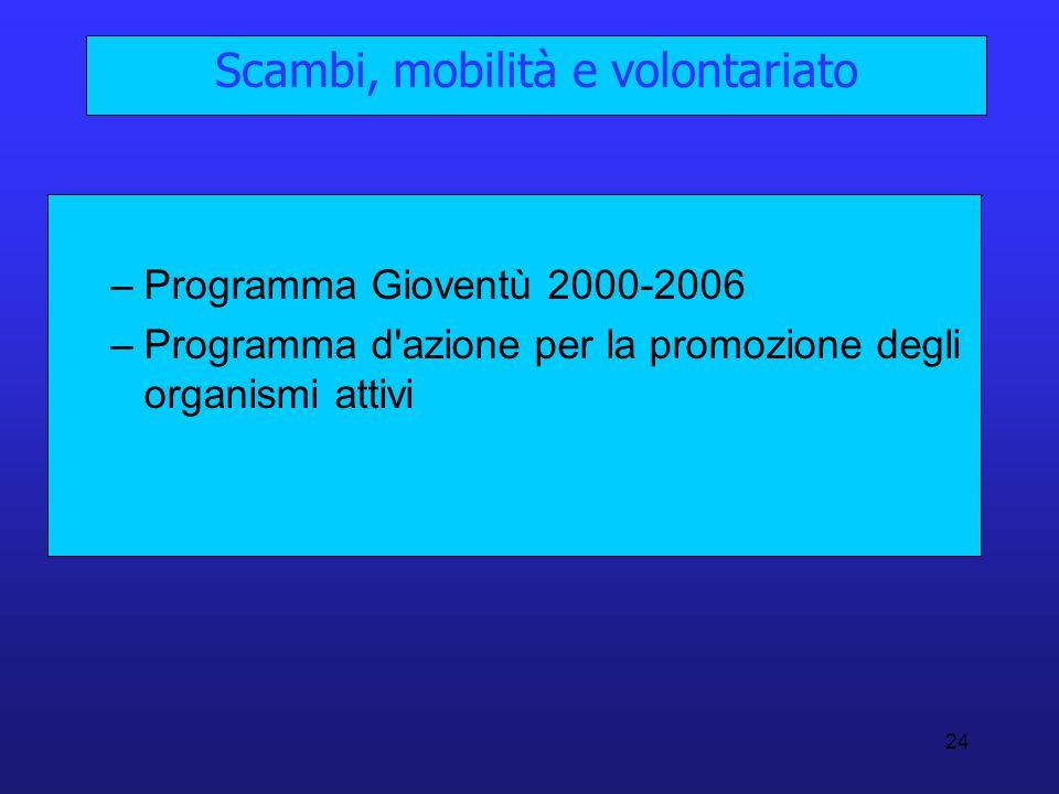 24 Scambi, mobilità e volontariato –Programma Gioventù 2000-2006 –Programma d'azione per la promozione degli organismi attivi