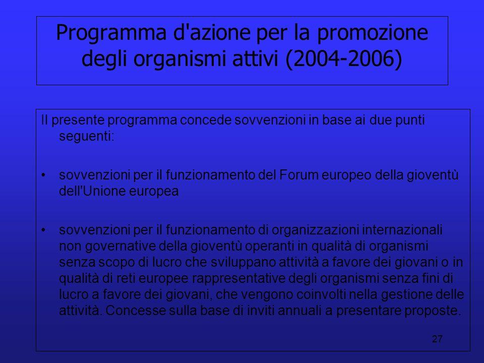 27 Programma d'azione per la promozione degli organismi attivi (2004-2006) Il presente programma concede sovvenzioni in base ai due punti seguenti: so