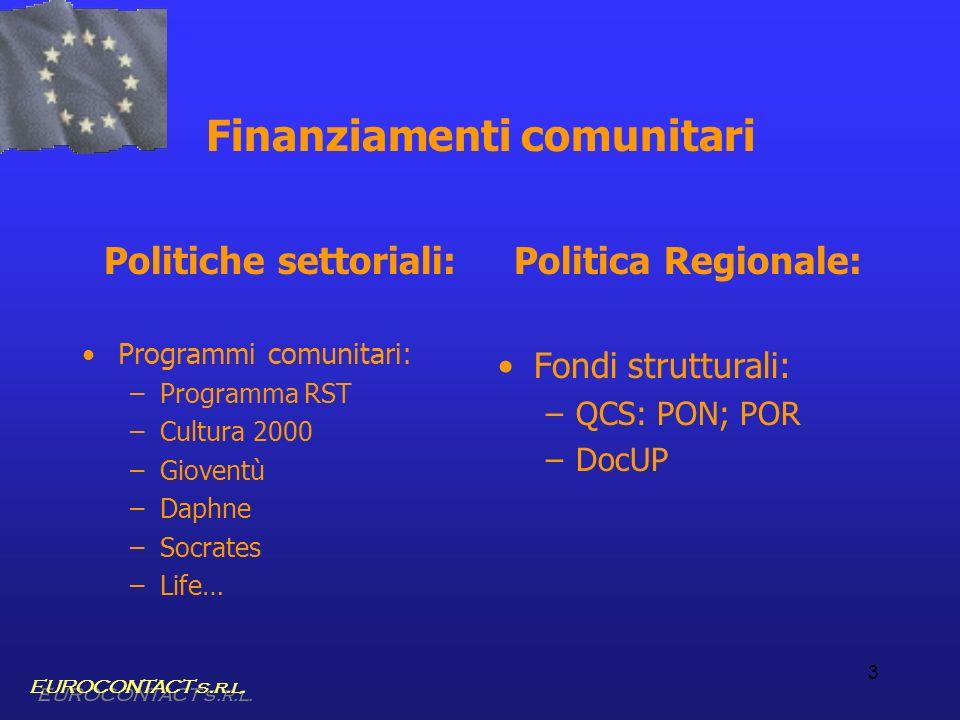 3 Finanziamenti comunitari Politiche settoriali: Programmi comunitari: –Programma RST –Cultura 2000 –Gioventù –Daphne –Socrates –Life… Politica Region