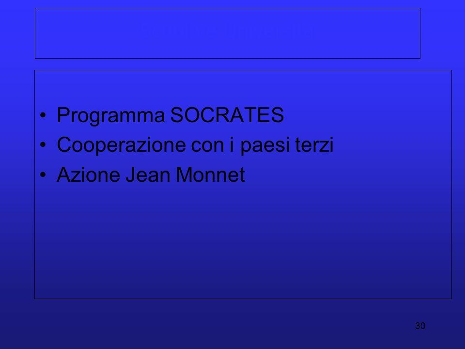30 Scuola e Università Programma SOCRATES Cooperazione con i paesi terzi Azione Jean Monnet