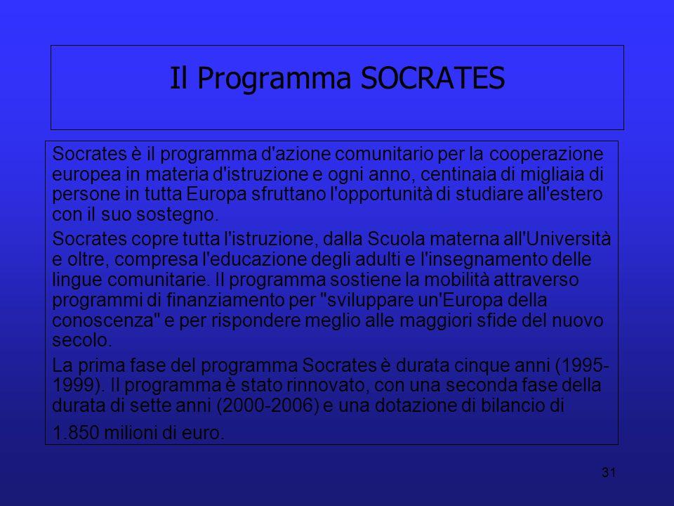 31 Il Programma SOCRATES Socrates è il programma d'azione comunitario per la cooperazione europea in materia d'istruzione e ogni anno, centinaia di mi