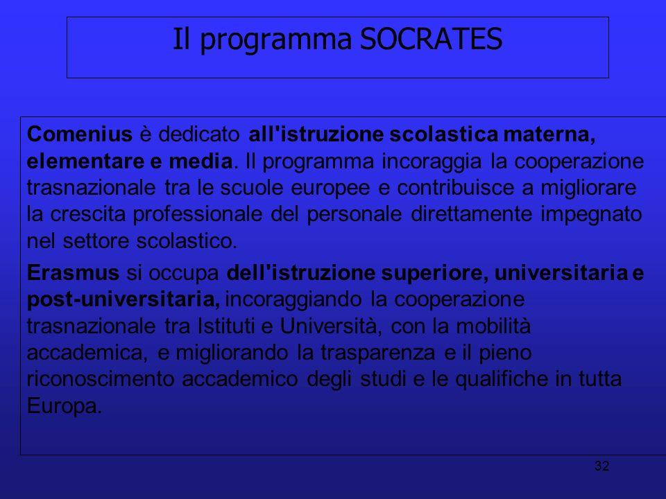 32 Il programma SOCRATES Comenius è dedicato all'istruzione scolastica materna, elementare e media. Il programma incoraggia la cooperazione trasnazion