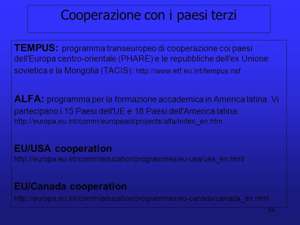 34 Cooperazione con i paesi terzi TEMPUS: programma transeuropeo di cooperazione coi paesi dell'Europa centro-orientale (PHARE) e le repubbliche dell'