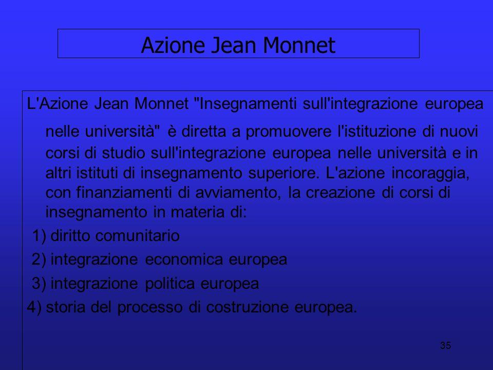 35 Azione Jean Monnet L Azione Jean Monnet Insegnamenti sull integrazione europea nelle università è diretta a promuovere l istituzione di nuovi corsi di studio sull integrazione europea nelle università e in altri istituti di insegnamento superiore.