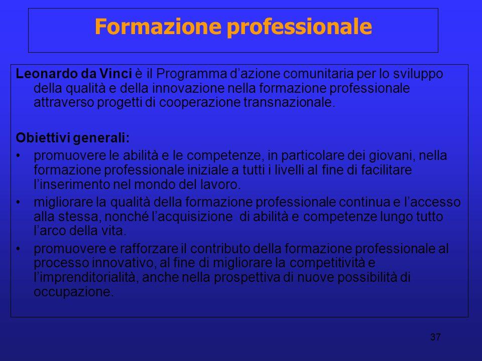 37 Formazione professionale Leonardo da Vinci è il Programma dazione comunitaria per lo sviluppo della qualità e della innovazione nella formazione pr