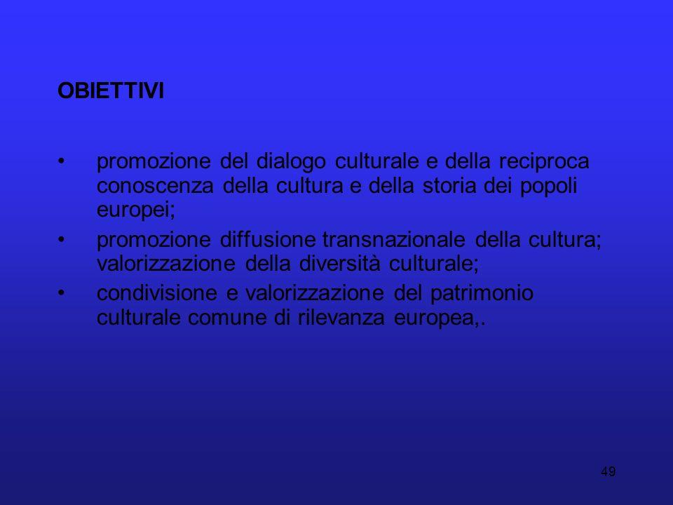 49 OBIETTIVI promozione del dialogo culturale e della reciproca conoscenza della cultura e della storia dei popoli europei; promozione diffusione tran