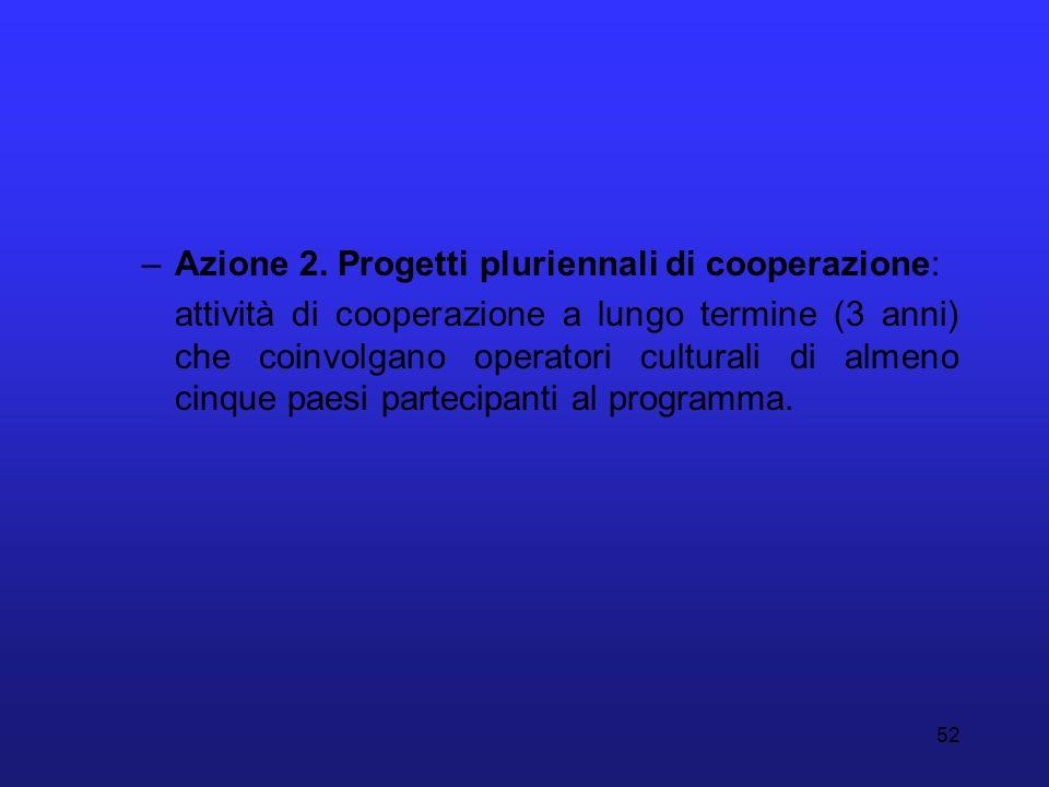 52 –Azione 2. Progetti pluriennali di cooperazione: attività di cooperazione a lungo termine (3 anni) che coinvolgano operatori culturali di almeno ci