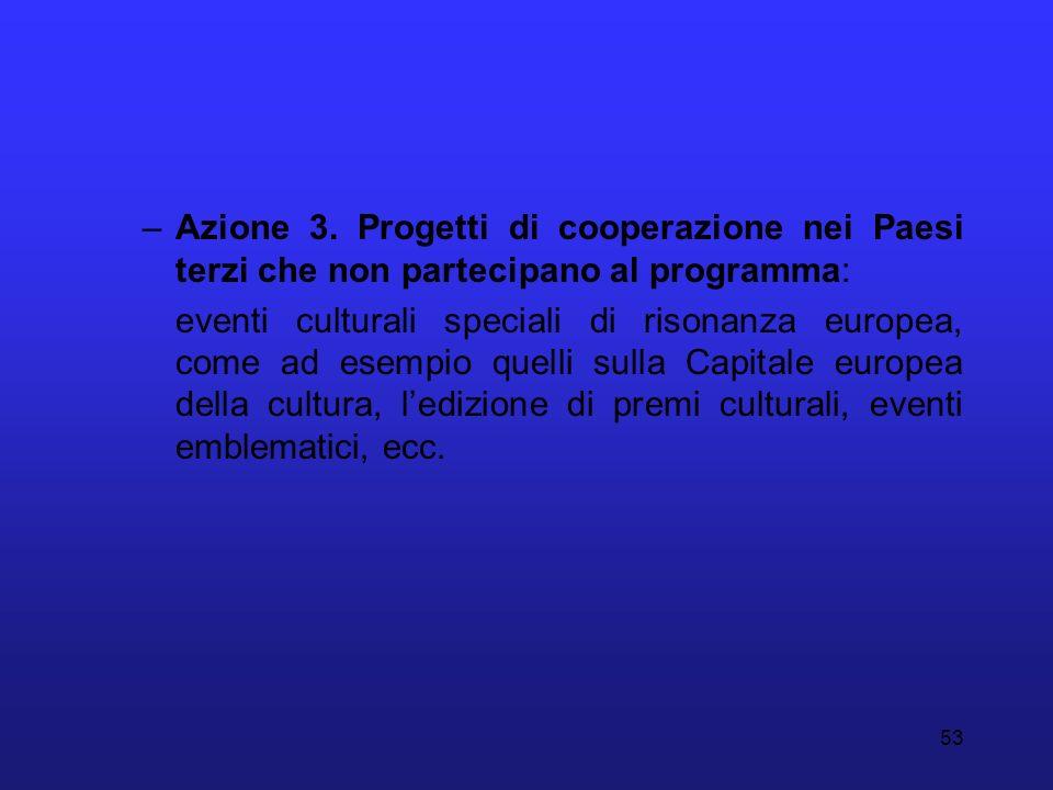 53 –Azione 3. Progetti di cooperazione nei Paesi terzi che non partecipano al programma: eventi culturali speciali di risonanza europea, come ad esemp