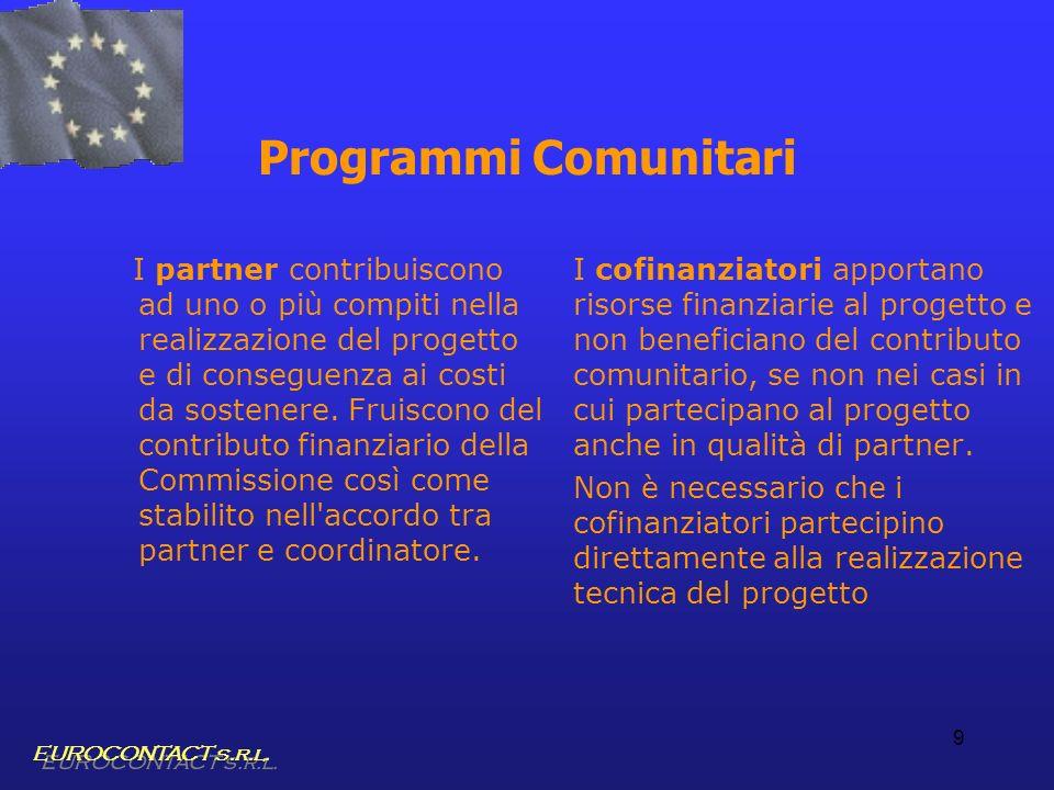 9 Programmi Comunitari I partner contribuiscono ad uno o più compiti nella realizzazione del progetto e di conseguenza ai costi da sostenere. Fruiscon