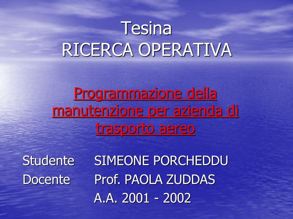 Programmazione della manutenzione per azienda di trasporto aereo Tesina RICERCA OPERATIVA Studente SIMEONE PORCHEDDU Docente Prof. PAOLA ZUDDAS A.A. 2