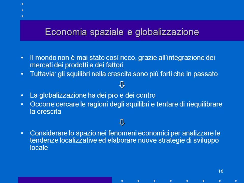 15 Economia regionale: qualche domanda In che modo lo spazio, il territorio, influenzano il funzionamento delleconomia.