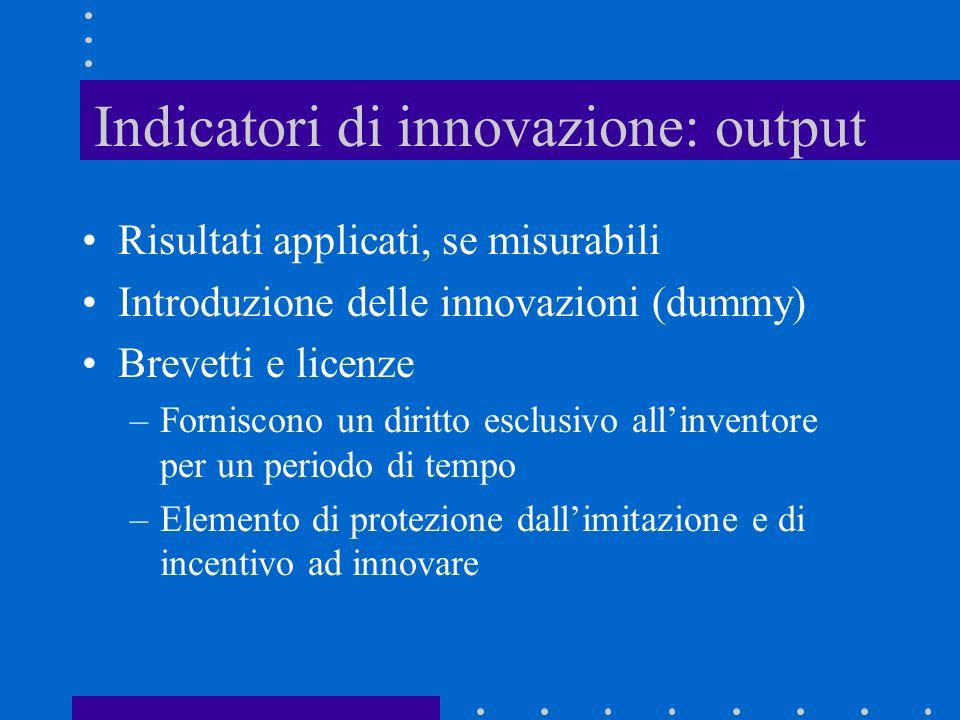 Indicatori di innovazione: input Spese per R&D e il numero di addetti alla R&D Esse colgono solamente lattività formalizzata Importante per i settori basati sulla scienza, meno nella meccanica, servizi, software
