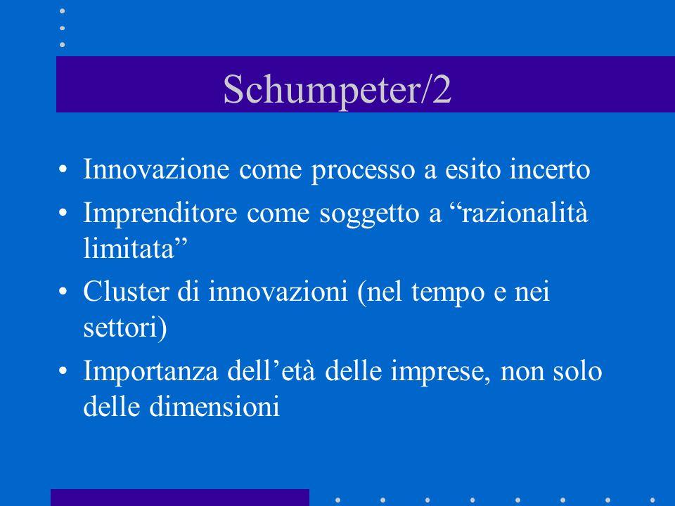 Schumpeter/1 Innovazione come principale determinante del cambiamento industriale..processo di creatività distruttrice Relazione tra struttura mercato e innovazione –Concorrenza –Monopolio Innovazione e profitti temporanei Storia come fonte di conoscenza
