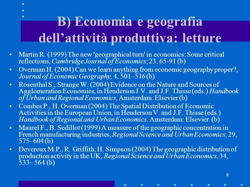 7 B) Economia e geografia dellattività produttiva Del Gatto M.