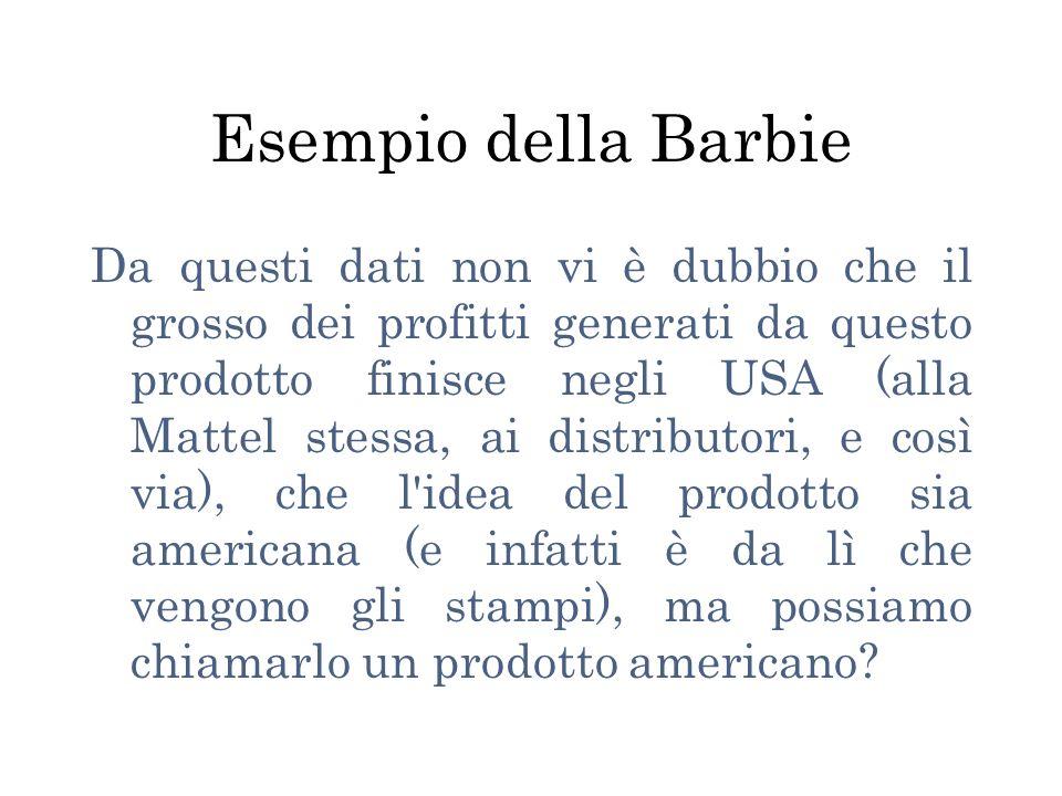 Esempio della Barbie Da questi dati non vi è dubbio che il grosso dei profitti generati da questo prodotto finisce negli USA (alla Mattel stessa, ai distributori, e così via), che l idea del prodotto sia americana (e infatti è da lì che vengono gli stampi), ma possiamo chiamarlo un prodotto americano?